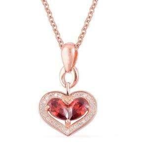 Jewelry - Sim Garnet, Sim Diamond 14K RG O/V Sterling Silver